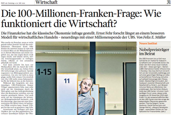 """Ernst Fehr in der NZZ am Sonntag: """"Die 100-Millionen-Franken-Frage: Wie funktioniert die Wirtschaft?"""""""