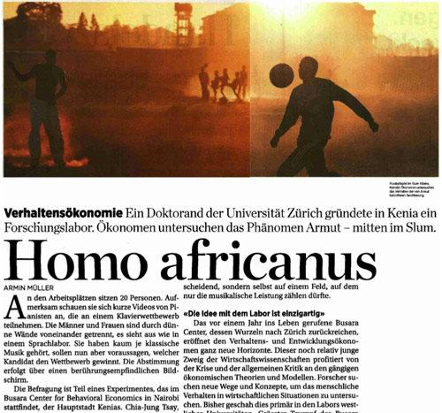 """Zum Nachlesen: Die Handelszeitung über das """"Busara Center for Behavioral Economics"""" in Nairobi"""