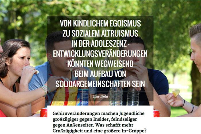 """Ernst Fehr: """"Altruismus in der Adoleszenz fördert die Solidargemeinschaft"""""""