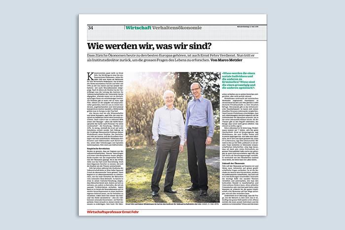 """Ernst Fehr in der NZZ am Sonntag: """"Wie werden wir, was wir sind?"""""""