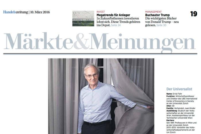 Warum Fairness für Bankmanager und Politiker wichtig ist: Interview mit Ernst Fehr in der Handelszeitung