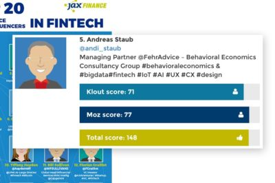 "Andreas Staub ist #5 der ""Social Influencer in Fintech 2017"""