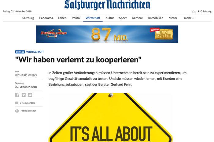 """""""Wir haben verlernt zu kooperieren"""" – Interview mit Gerhard Fehr in den Salzburger Nachrichten"""